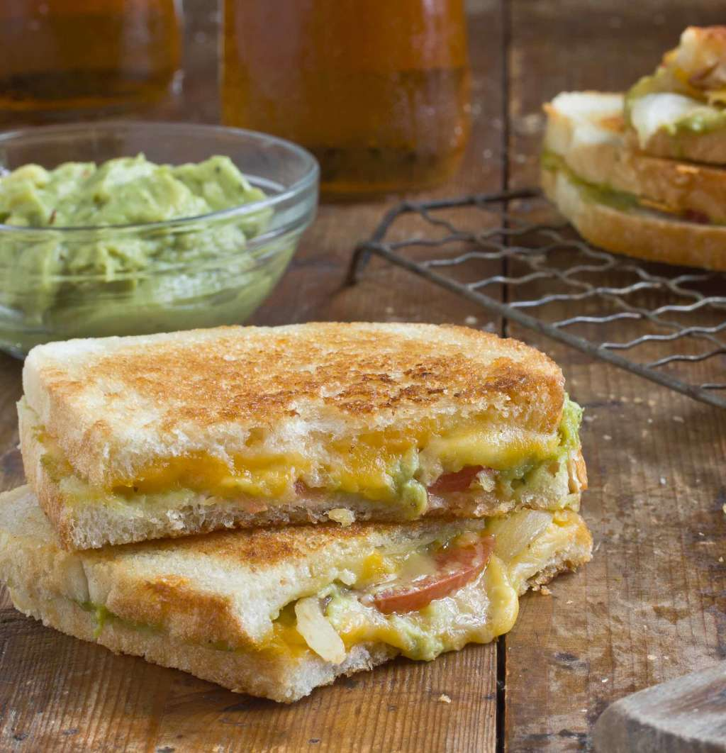 Our Best Grilled Cheese Recipe: Cheddar Jack Grilled Cheese with Charred Onions & Guacamole