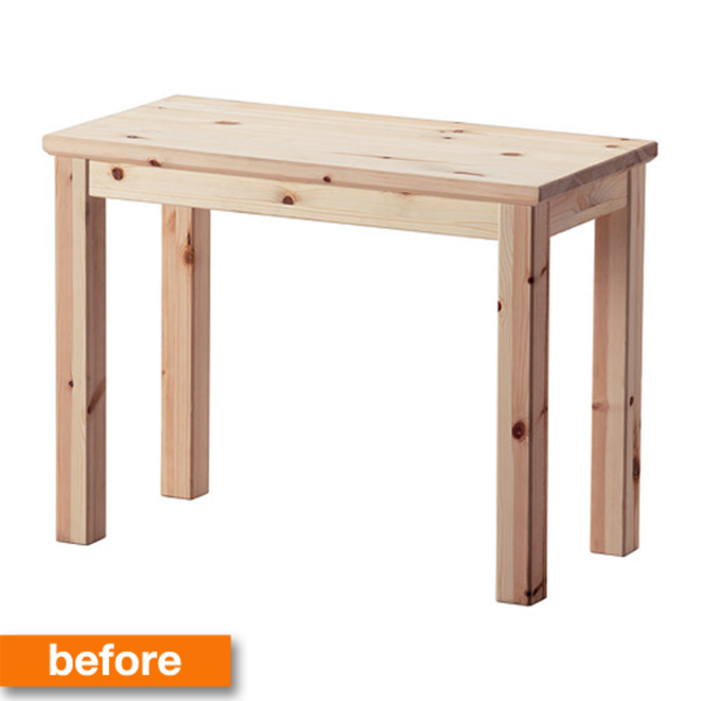 before & after: a plain pine ikea table turns into a bold bar