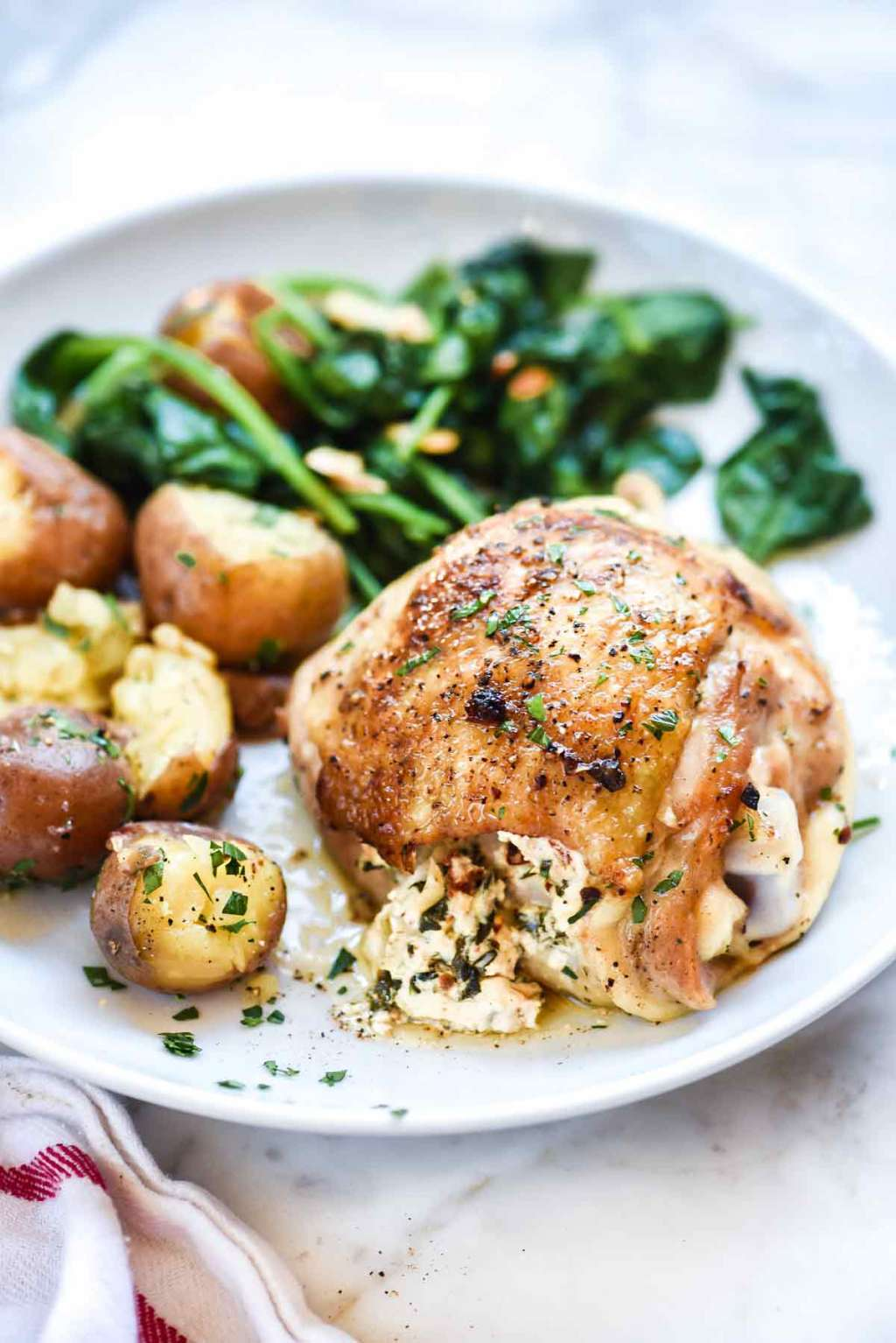 These Spinach & Artichoke Stuffed Chicken Thighs Are Amazing