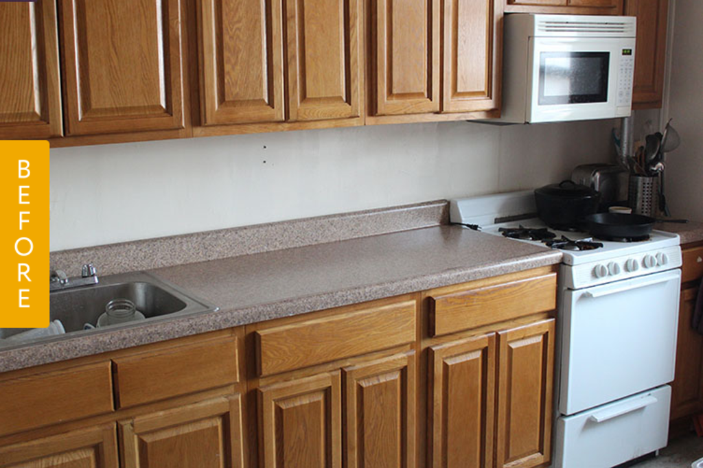 Rental Kitchen Before & After: Drab to Fab with a Geometric Backsplash