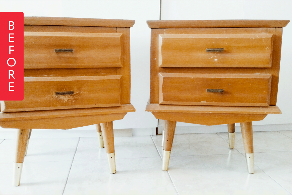 Before and After: Nightstands Kickstart a Bedroom's Bold Color Scheme