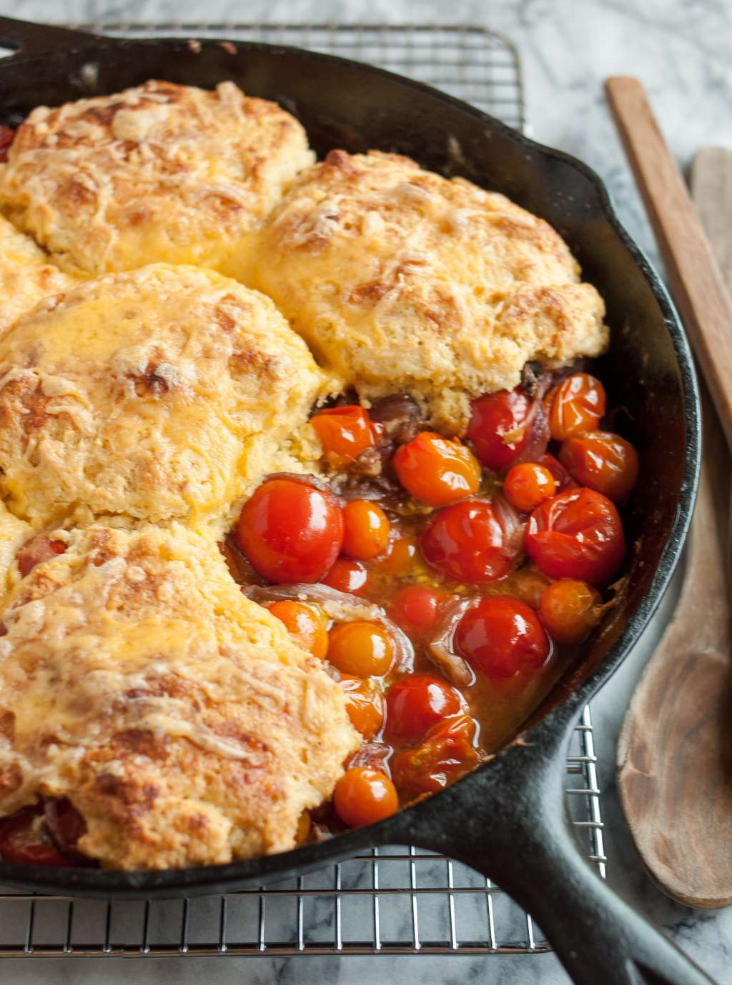 Recipe: Tomato Cobbler with Cornmeal-Cheddar Biscuits