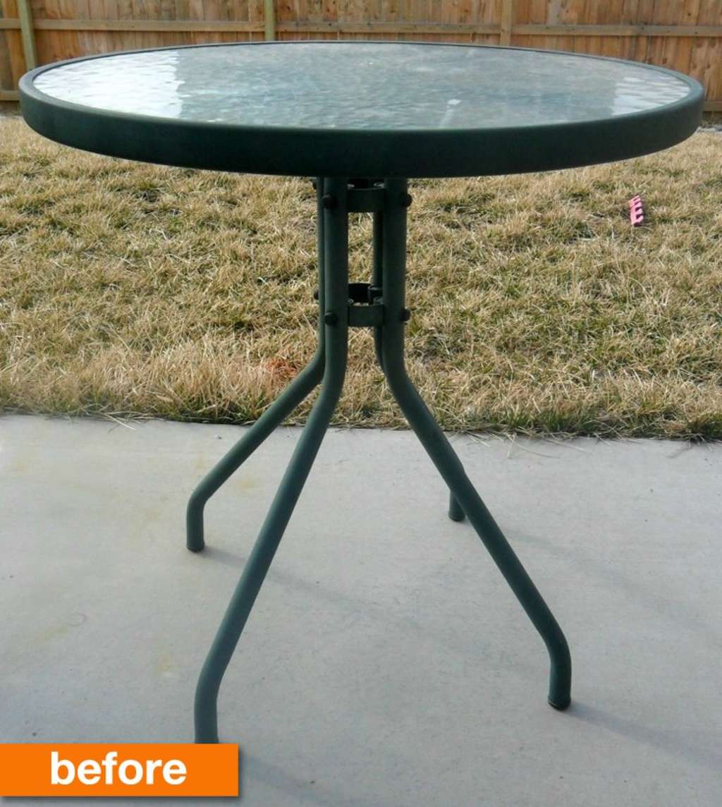 Before & After: A Plain Glass Patio Table Goes Bold!