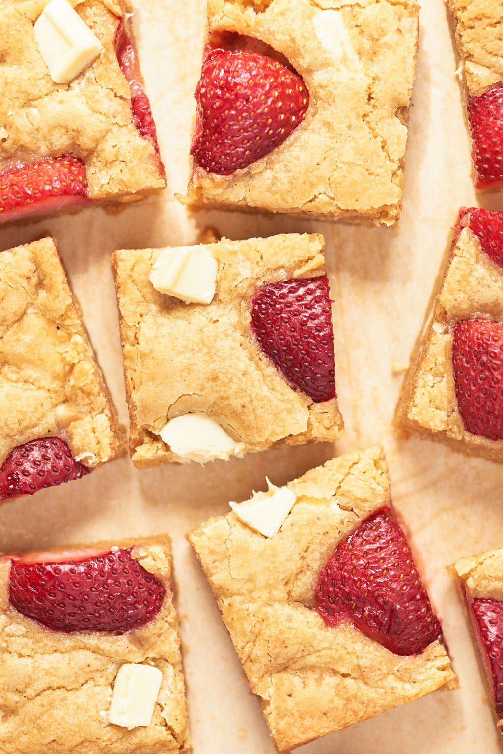 Brown Butter Strawberry White Chocolate Blondies