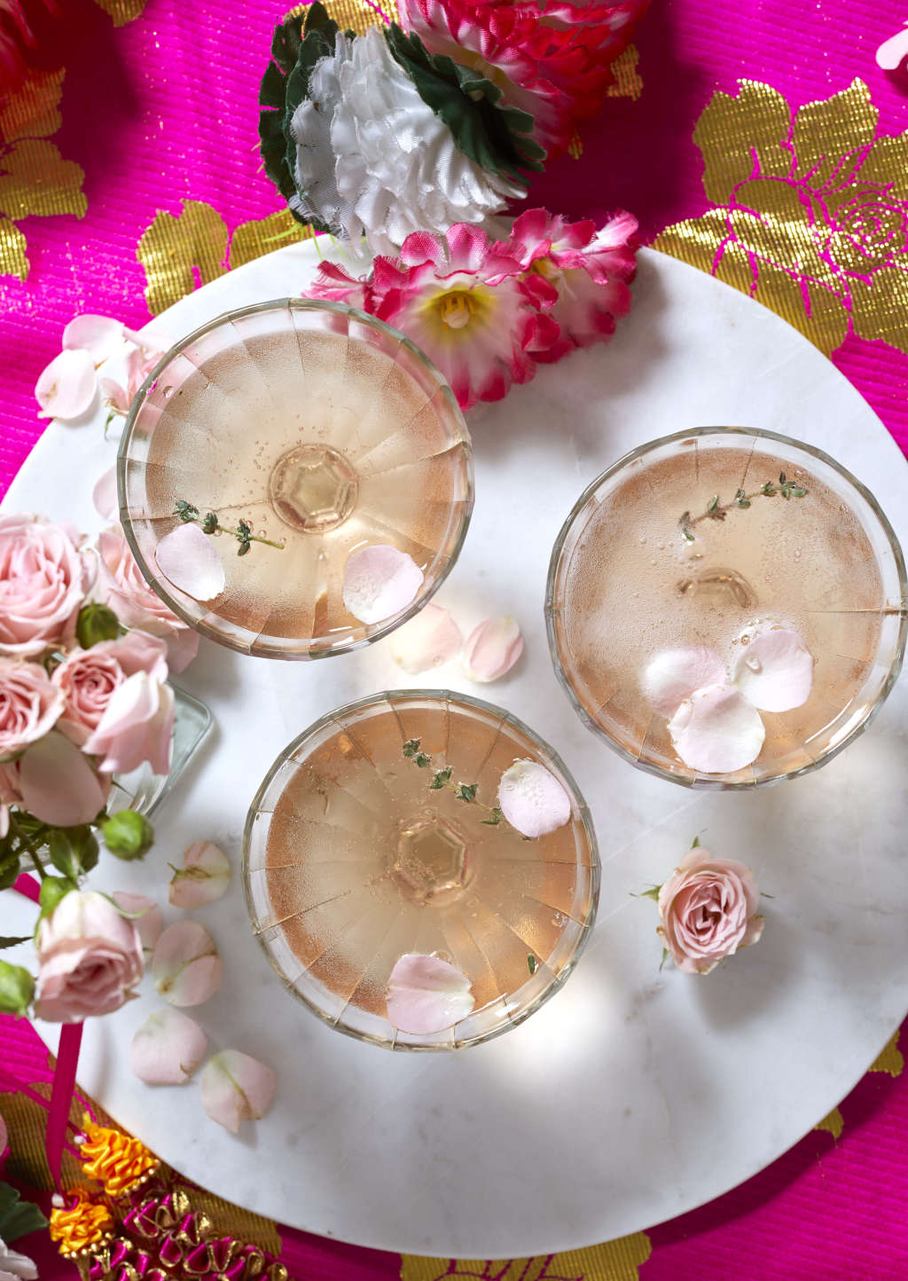 Sparkling Rosé Cocktail for a South Indian-Inspired New Year
