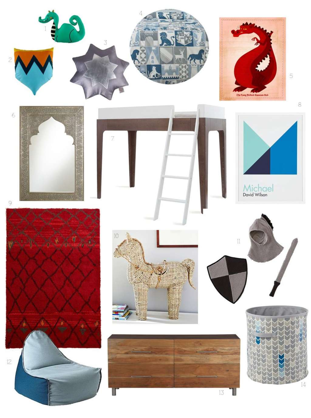 Kid's Room Style Collage: A Room Fit for Your Knight in Shining Armor