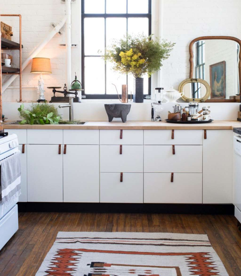 Kitchen For Rent: A Rental Kitchen Spiffed-Up With Leather Cabinet Pulls
