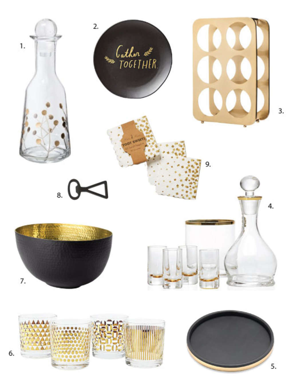 Holiday Home Trends: Matte Black & Shiny Gold Accessories for Under $25