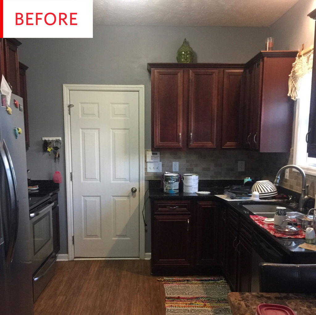 Colorful Kitchen Before And After Blue Painted Cabinets