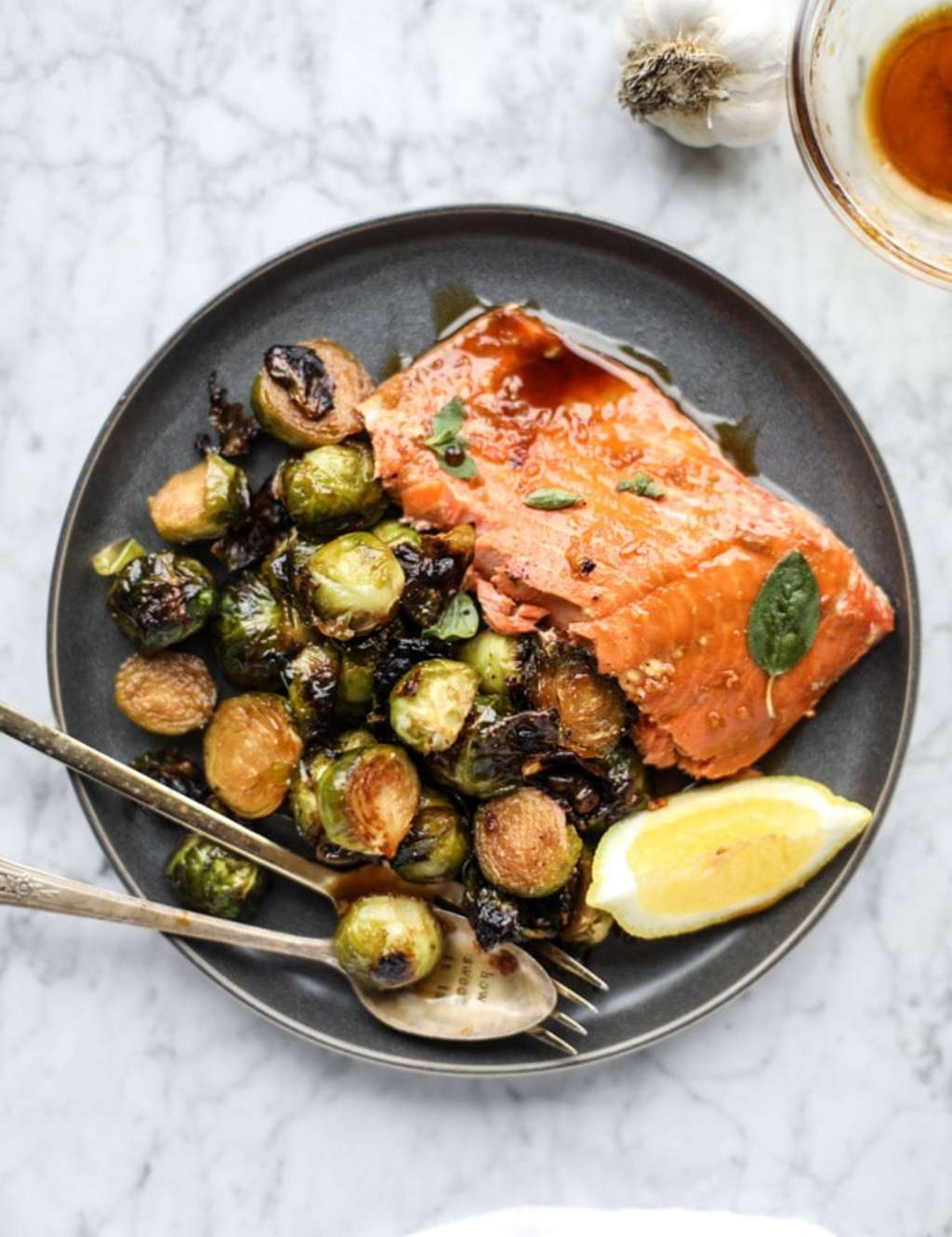 Sheet Pan Honey Garlic Salmon And Brussels Sprouts How