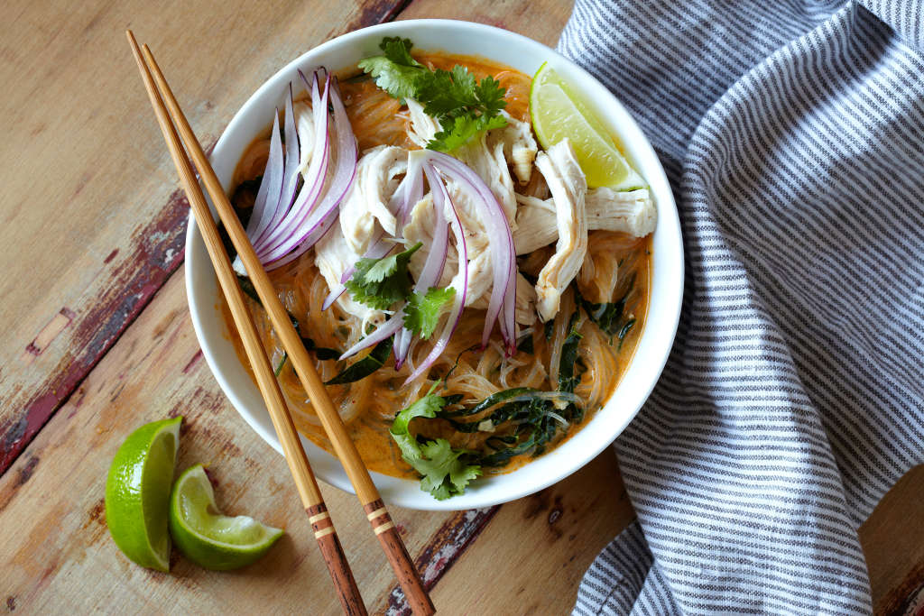 Easy Chicken Curry Noodle Soup, Inspired by Thailand