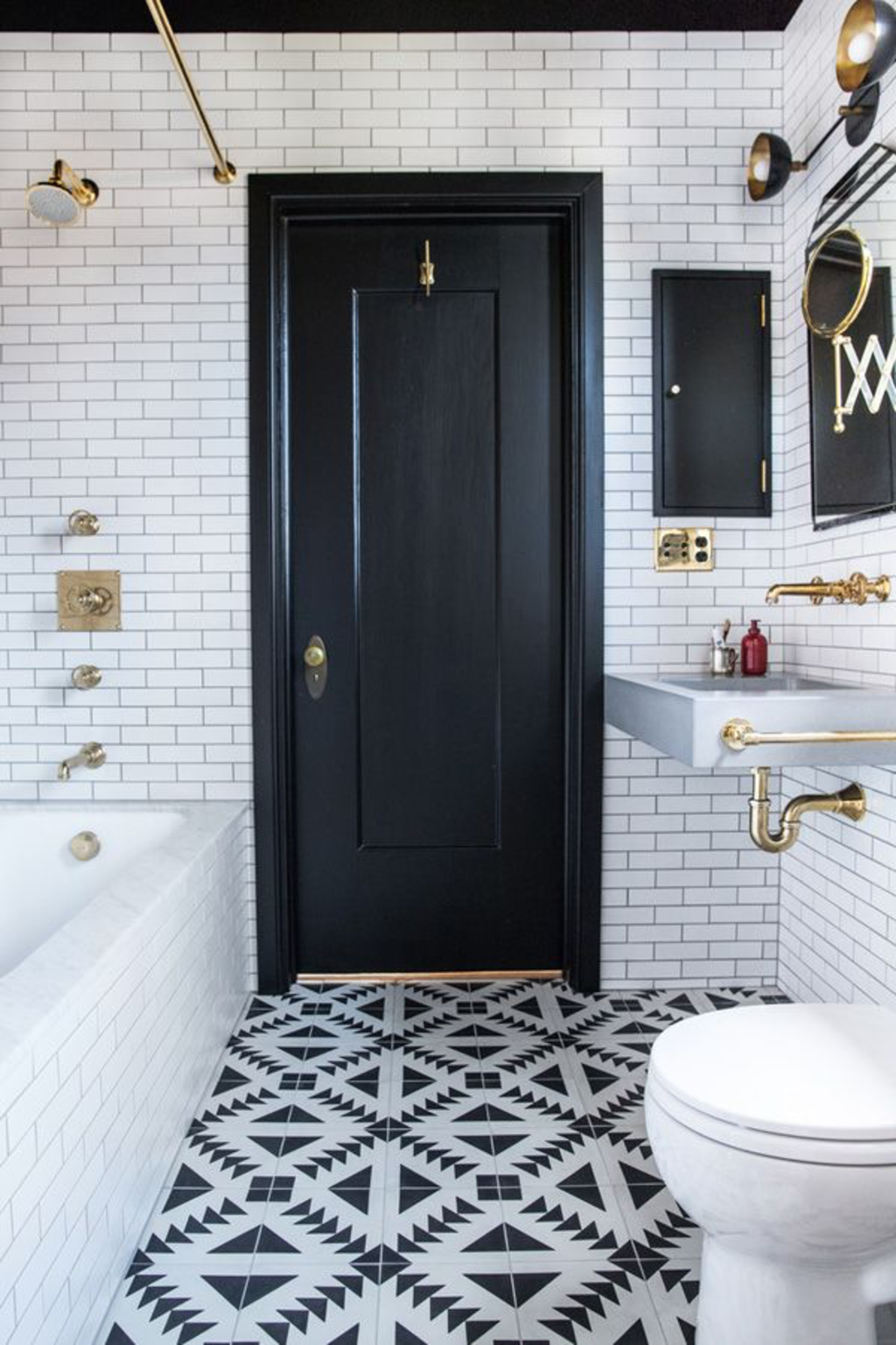 Black and White and Gold in the Bathroom