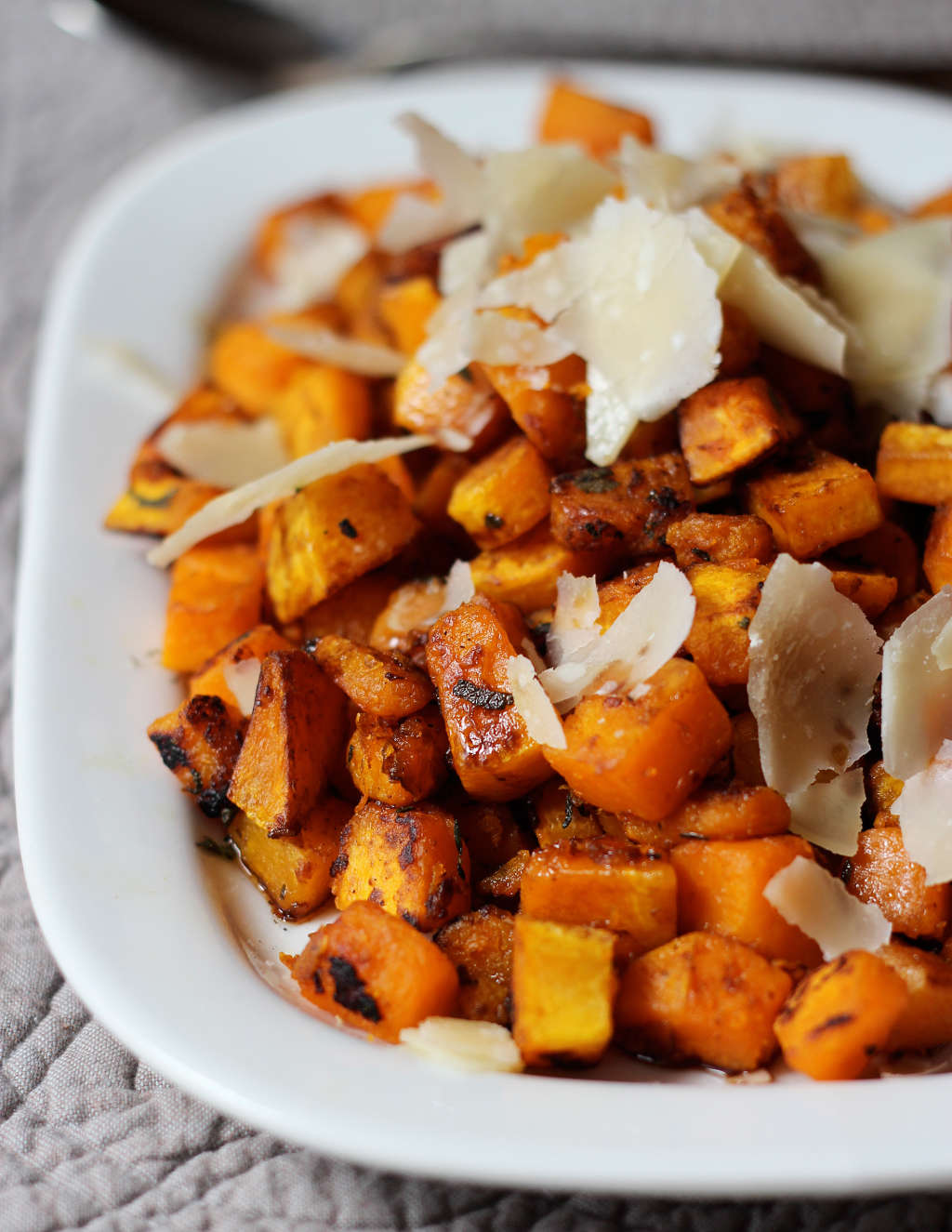 Side Dish Recipe for Roast Chicken: Pan-Seared Butternut Squash with Balsamic & Parmigiano Shards