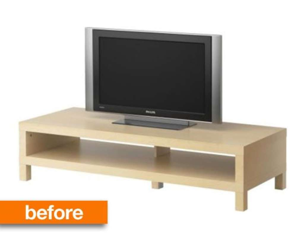 before & after: ikea lack space age tv stand | apartment therapy