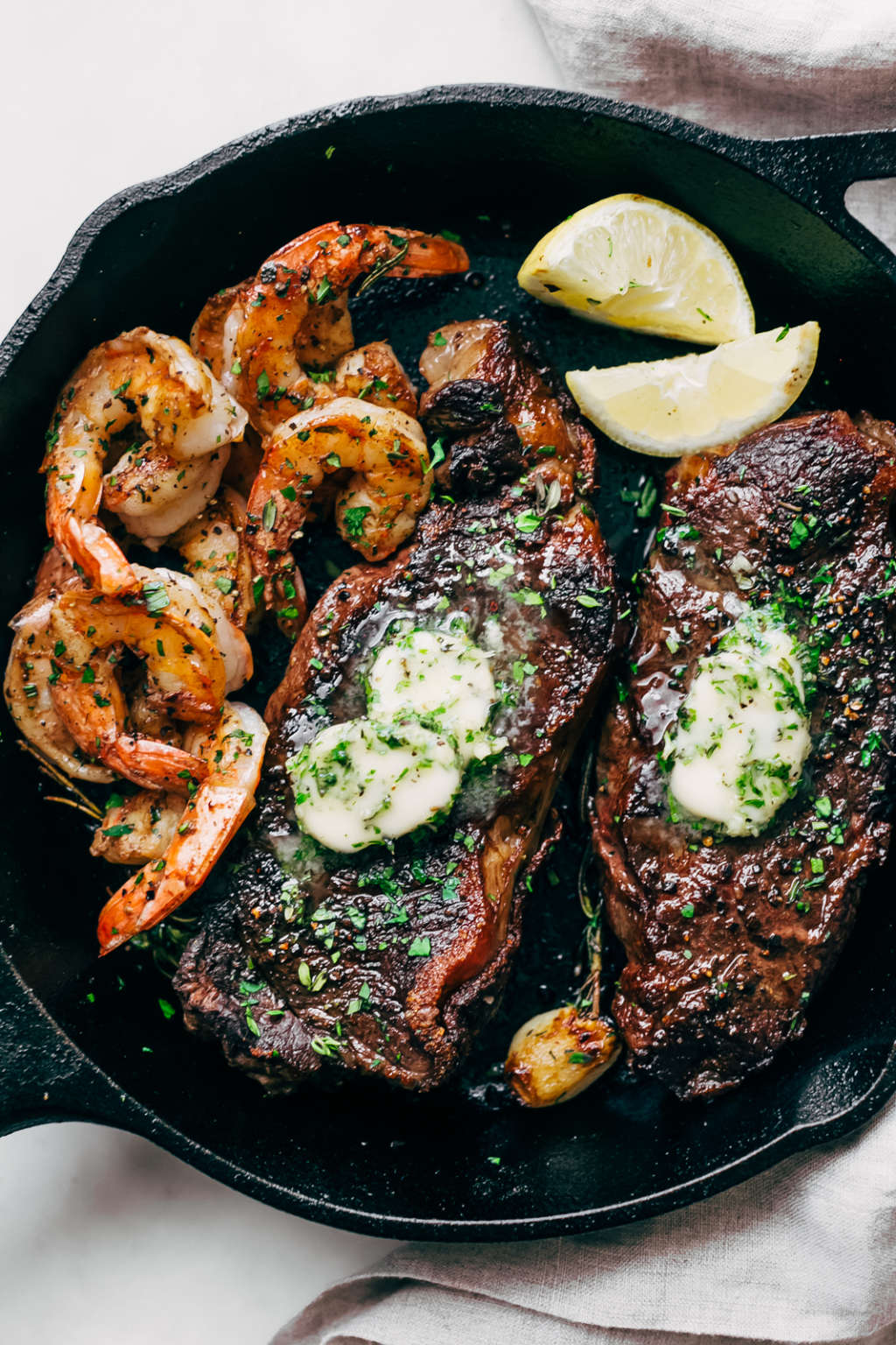 Treat Yourself to Steak and Shrimp with Garlic Butter