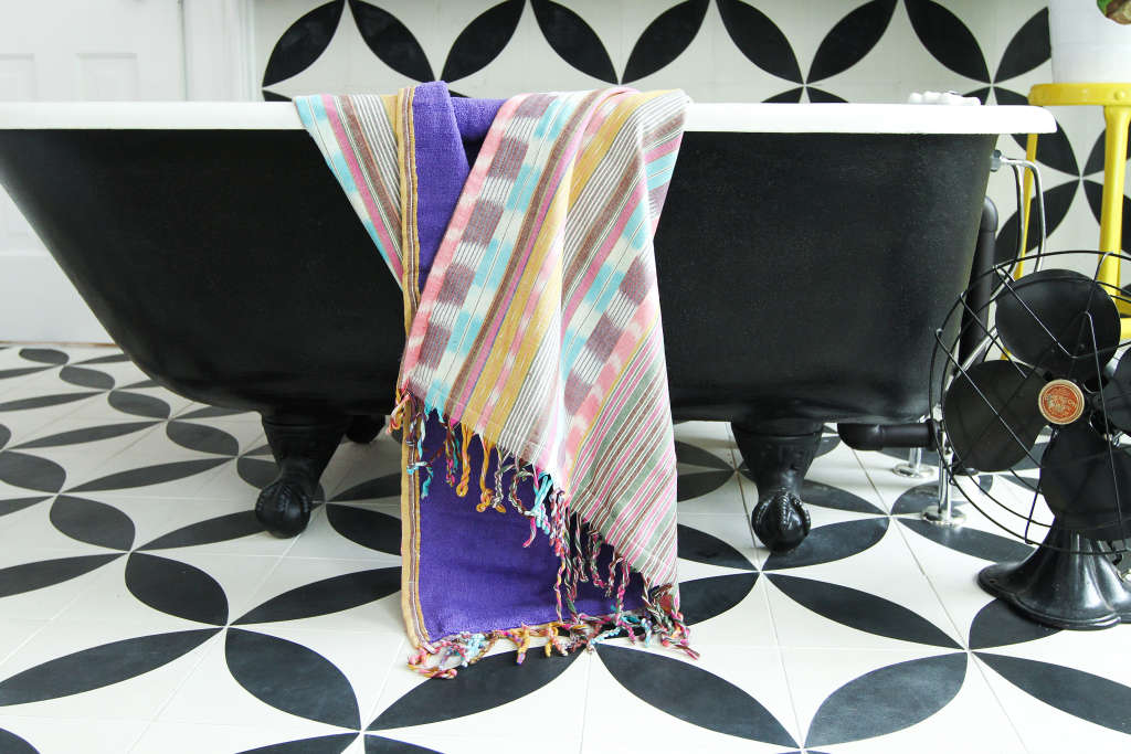 DIY Woven Fabric Beach Blanket, Towel + Wrap
