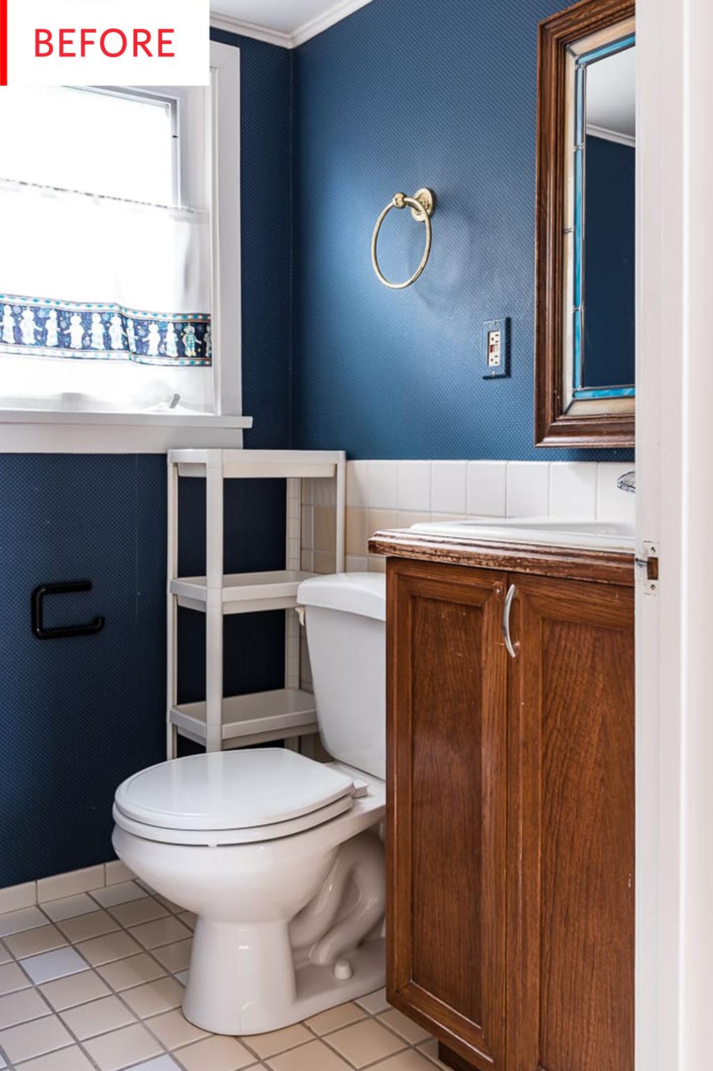 Painted tile bathroom floor before after photos - Half bathroom remodel ideas ...