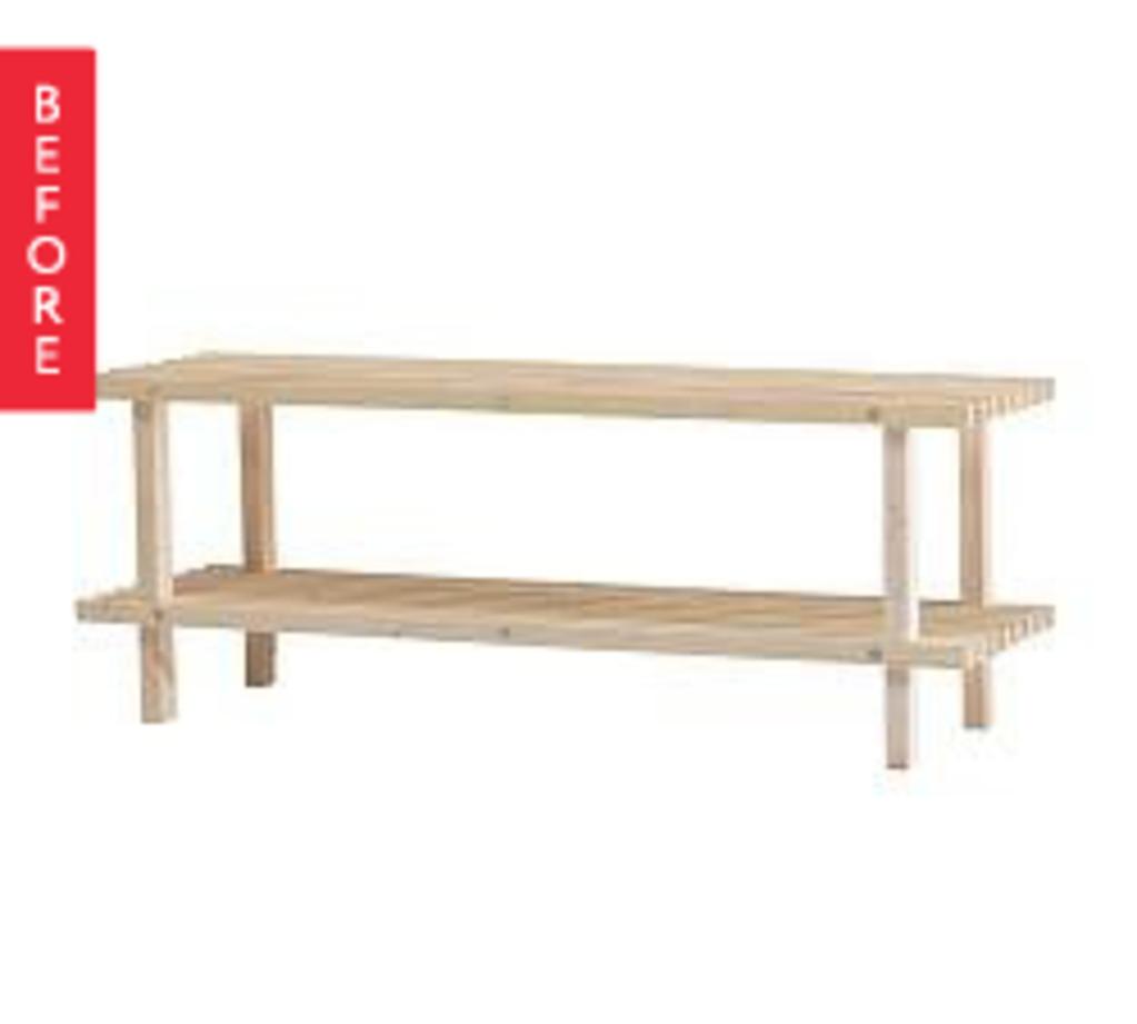 Before & After: IKEA Shoe Rack Turned Slat Table