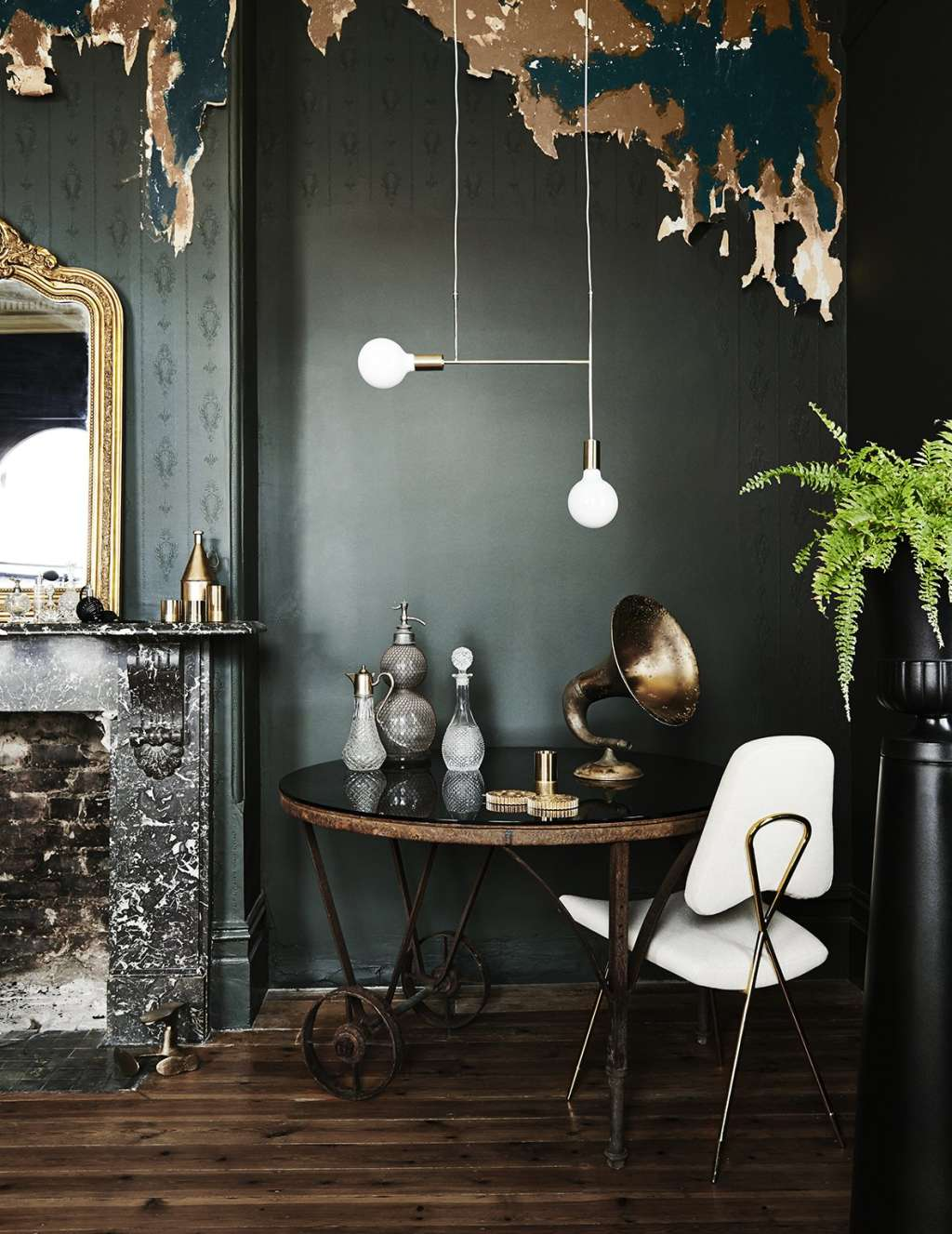 Dark & Dramatic Rooms Where White is the Pop of Color
