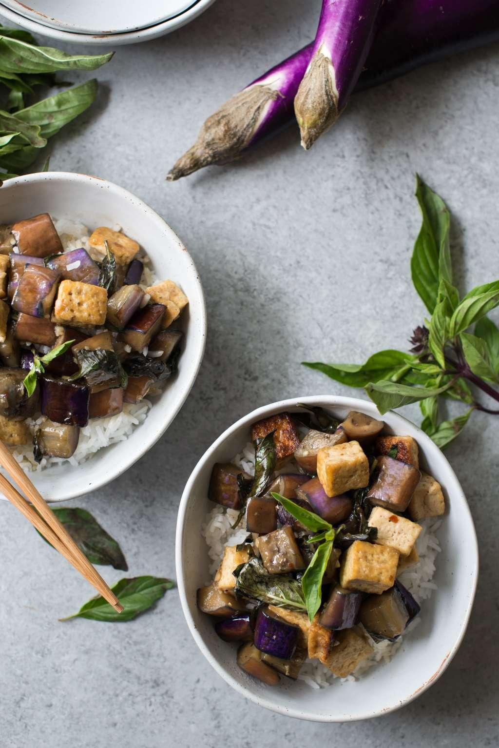 Recipe: Vegan Stir-Fried Garlic Tofu and Eggplant