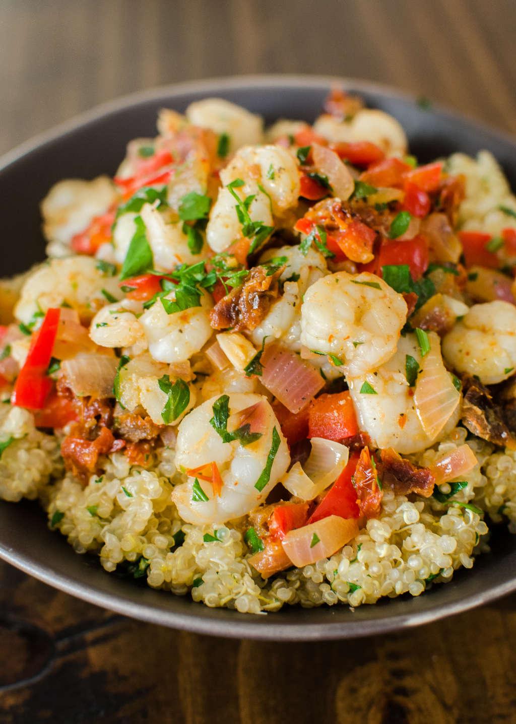 Quick Dinner Recipe: Saucy Sautéed Shrimp over Lemon Quinoa