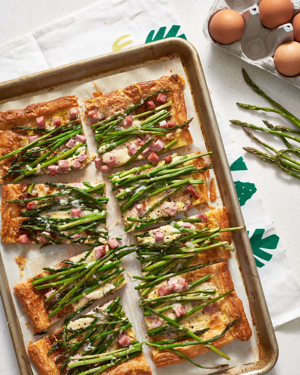 Roasted Asparagus Sings in this Buttery Ham & Cheese Tart