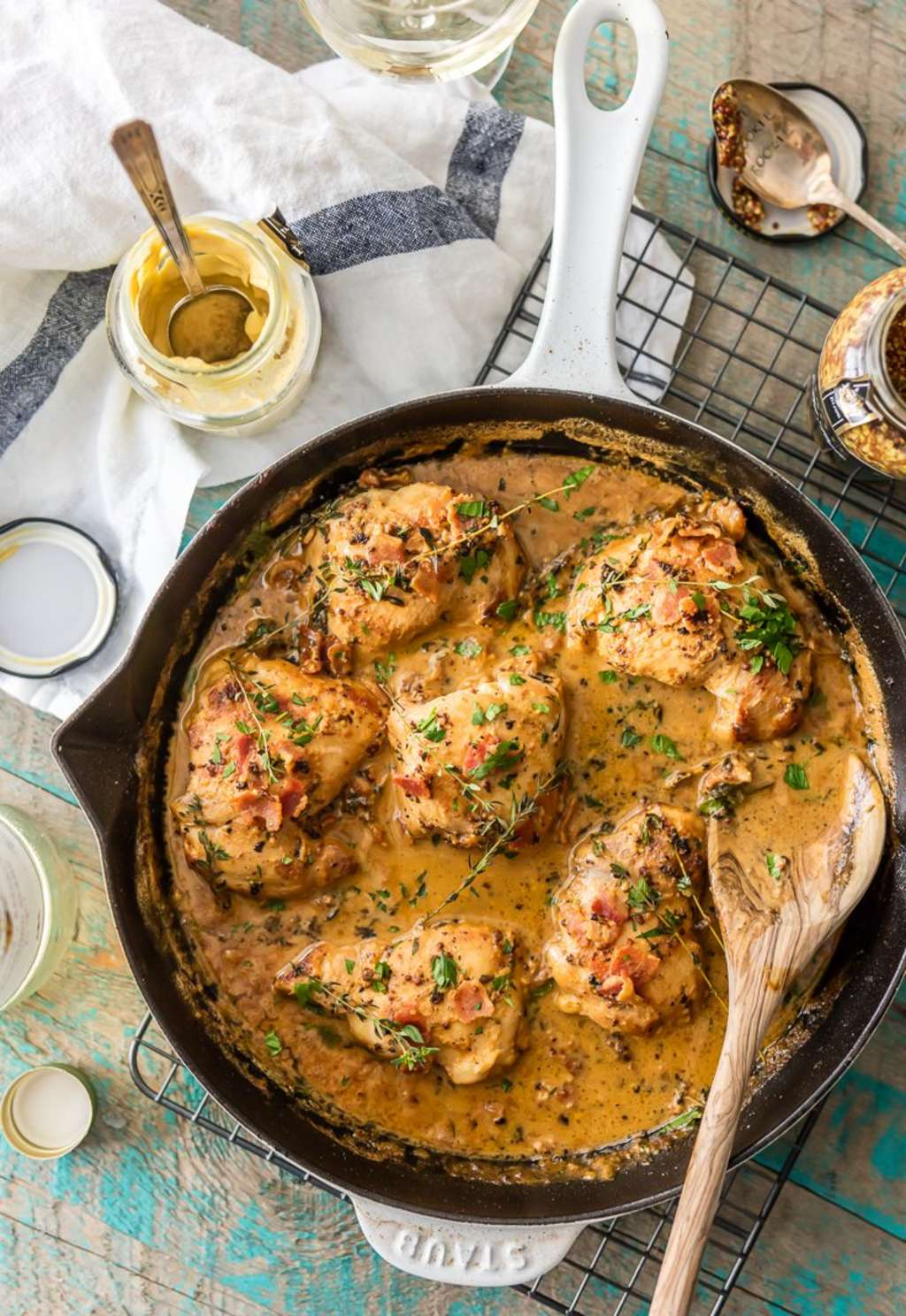 Bow Down to This One-Skillet Mustard & Bacon Chicken
