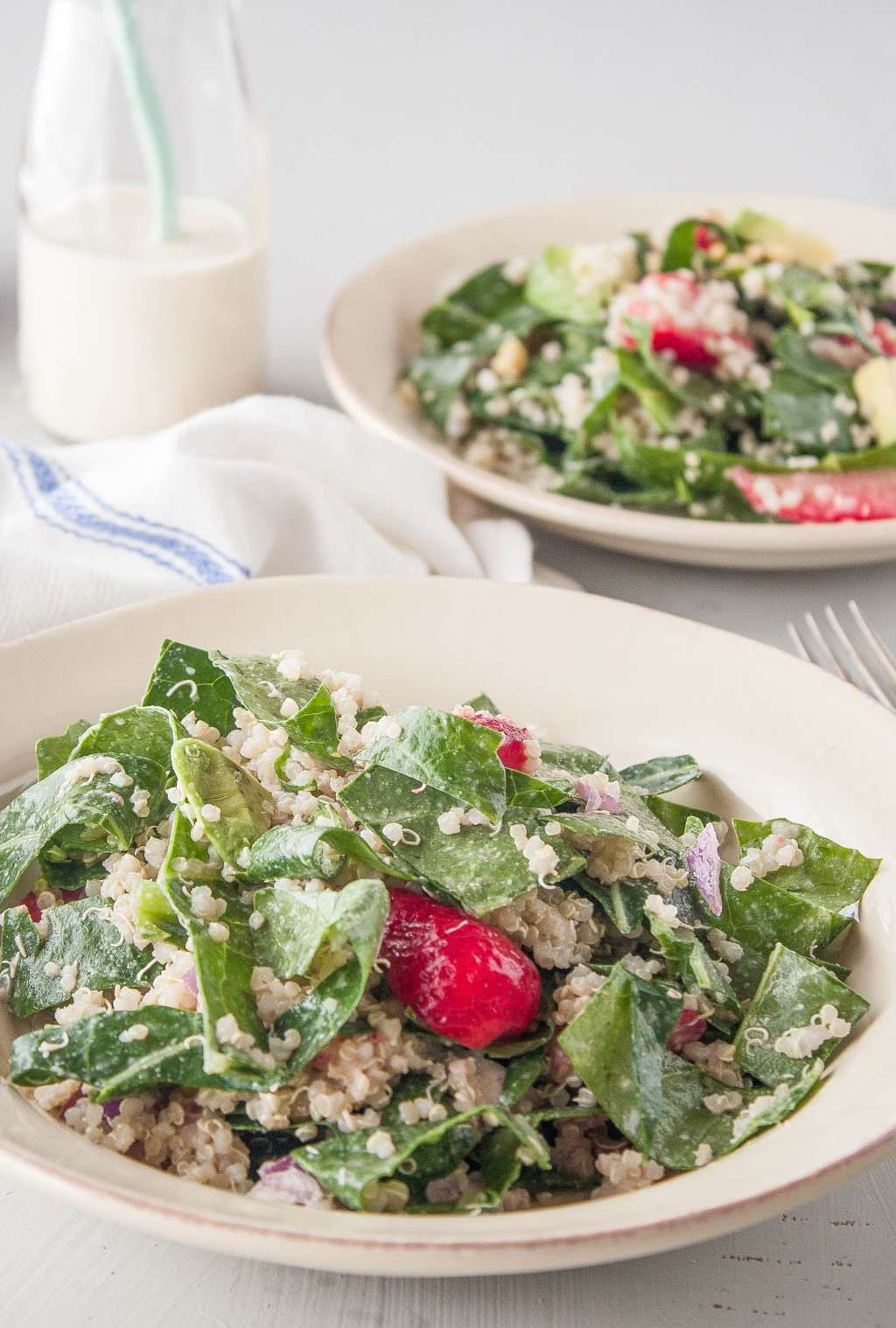 Recipe: Collard Green Salad with Strawberries & Tahini Dressing