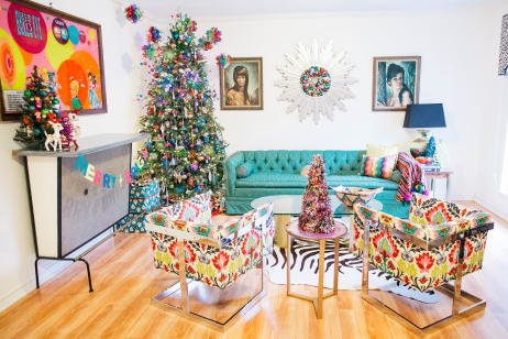 house tour a home with 100 colorful christmas trees apartment therapy