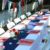Red white and blue table with bunting