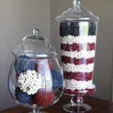 patriotic apothecary jars filled with dried beans