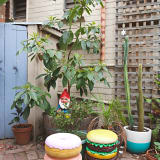 Donut and burger stools on patio