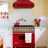 Cherry red retro oven and hood