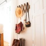 Coatrack, hats, shoes, and purses