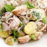 Mixed new potato salad with basil and shallots