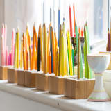 Pencils are beautifully arranged, ready for use in Shauna's studio.