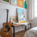 Paintings and guitar