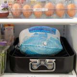 Frozen turkey in fridge