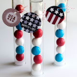 Patriotic gumball party favors