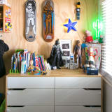 Star Wars skateboards on plywood wall