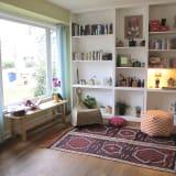 Austin Texas House Living Room Bookshelves