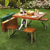 Portable wooden folding picnic table