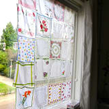 vintage handkerchief curtain