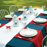 red white and blue color block table decor
