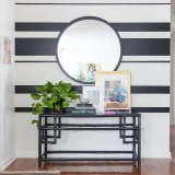 Black and white painted stripe walls