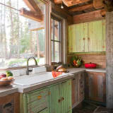 Rustic green cabinets