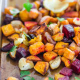 Roasted vegetables on a tray