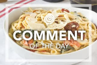 Peppers and onions in pasta - Comment of the day
