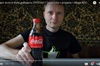 Ukrainian Man Demonstrates How to Turn a Bottle of Coca-Cola Into a Rocket Using Butane