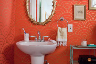 Glam Gold & Coral Bathroom